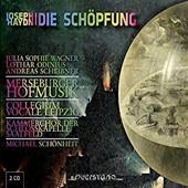 """Cover """"Haydn Schöpfung"""" mit Ölgemälde einer Weltkugel und Schrift in Regenbogenfarben"""