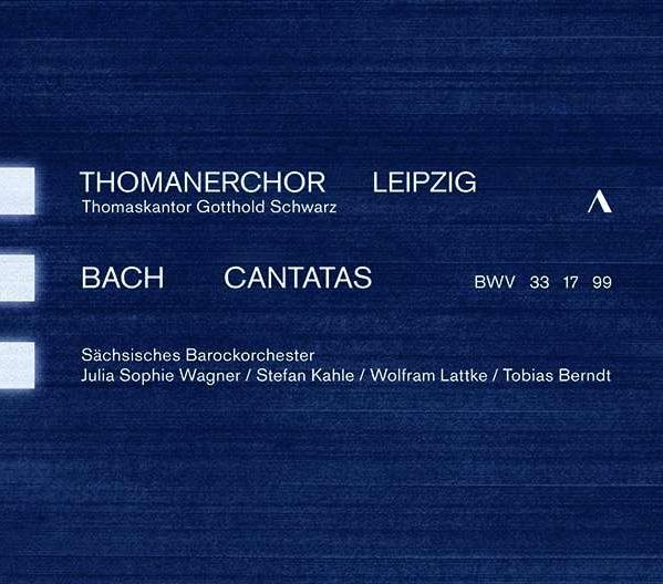 Cover CD Kantaten Thomanerchor, dunkelblaues Cover in Anlehnung an die Auftrittskleidung der Thomaner