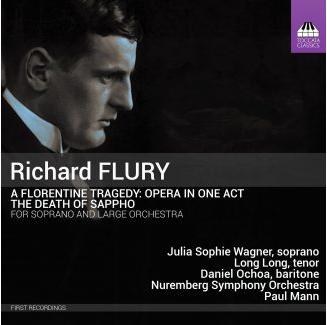 CD Cover Richard Flury Sapphos Tod Schwarzes cover mit Portraitfoto des Komponisten im Profil