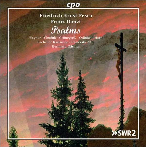 CD-Cover Fesca Psalmen, Jesus am Kreuz und zwei Tannen im Morgenrot, Ölgemälde