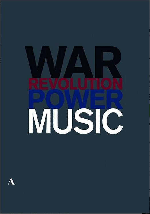 DVD-Cover, Grafische aufbereitung der Worte War, Revolution, power, music
