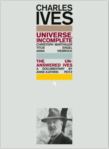 DVD-Cover, Text mit bunten Balken, dazu eine Portraitfotografie von Charles Ives