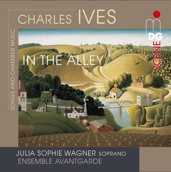 """Cover der CD """"Charles Ives - In the Alley"""", Brauntöne, in der Mitte ein Ölbild, Nordamerikanische Kulturlandschaft"""