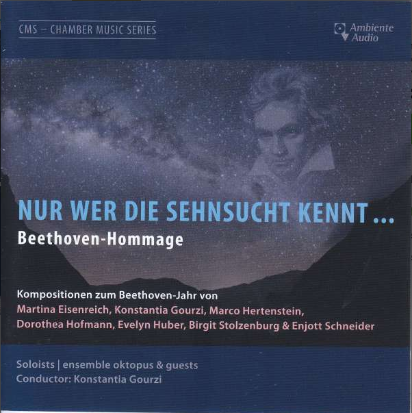 CD-Cover. Portrait von Beethoven in einem Foto der Milchstraße hinter einer Bergkette